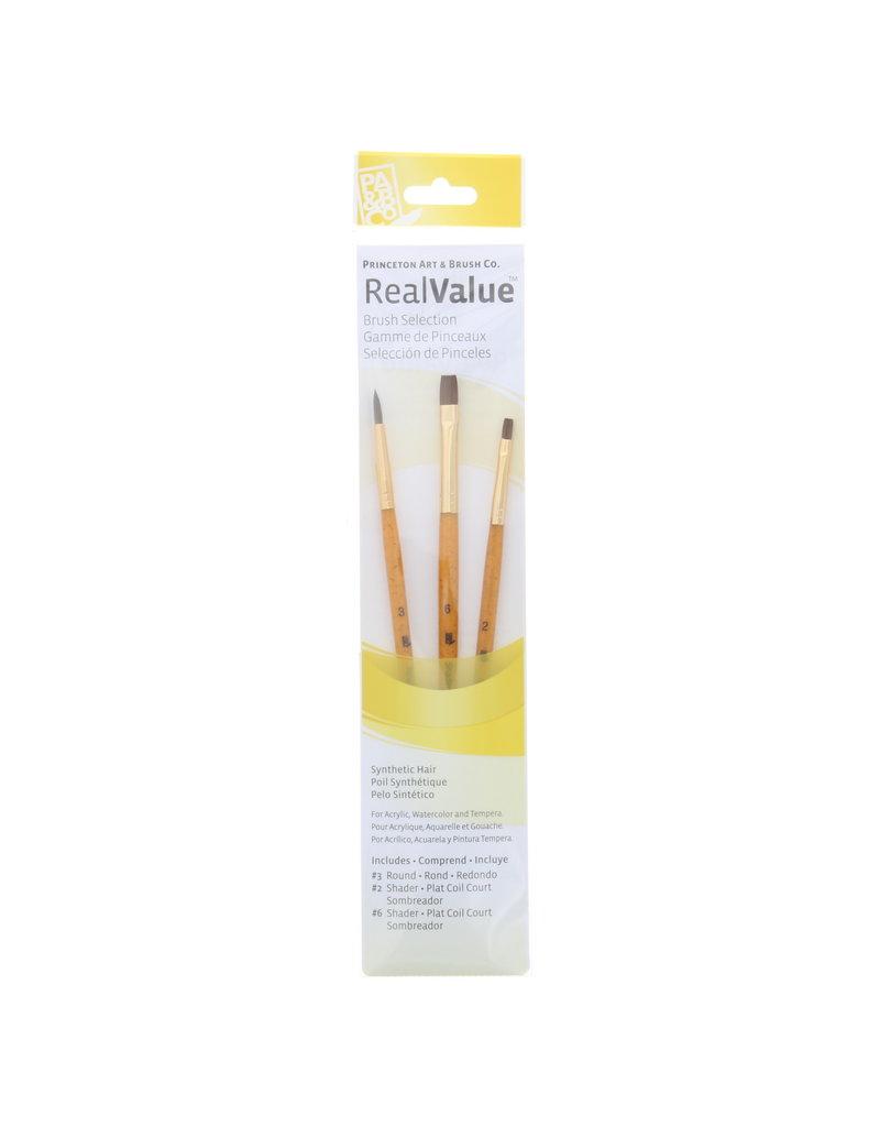 Princeton Real Value Brush Sets, 3-Brush Sets, 3-Brush Synthetic Brush Set - Round 3, Shader 2, 6