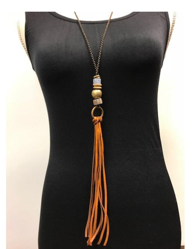 Stone and Leather Tassel Necklace - Asst Colors