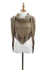 Knit Triangle Scarf With Fringe - Asst