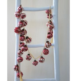 Embossed Red and Silver Mercury Glass Ball Ornament Garland
