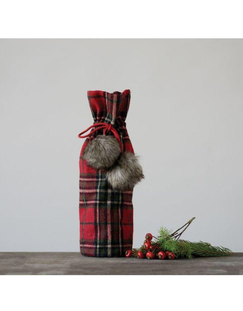 Plaid Fabric Wine Bag with Faux Fur Pom-Pom