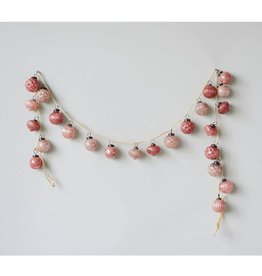 Embossed Pink Mercury Glass Ball Ornament Garland