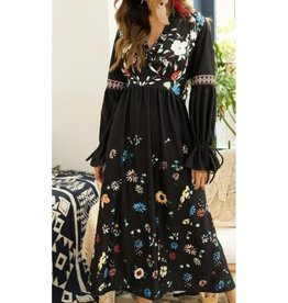 Black Floral Tie Sleeve Dress