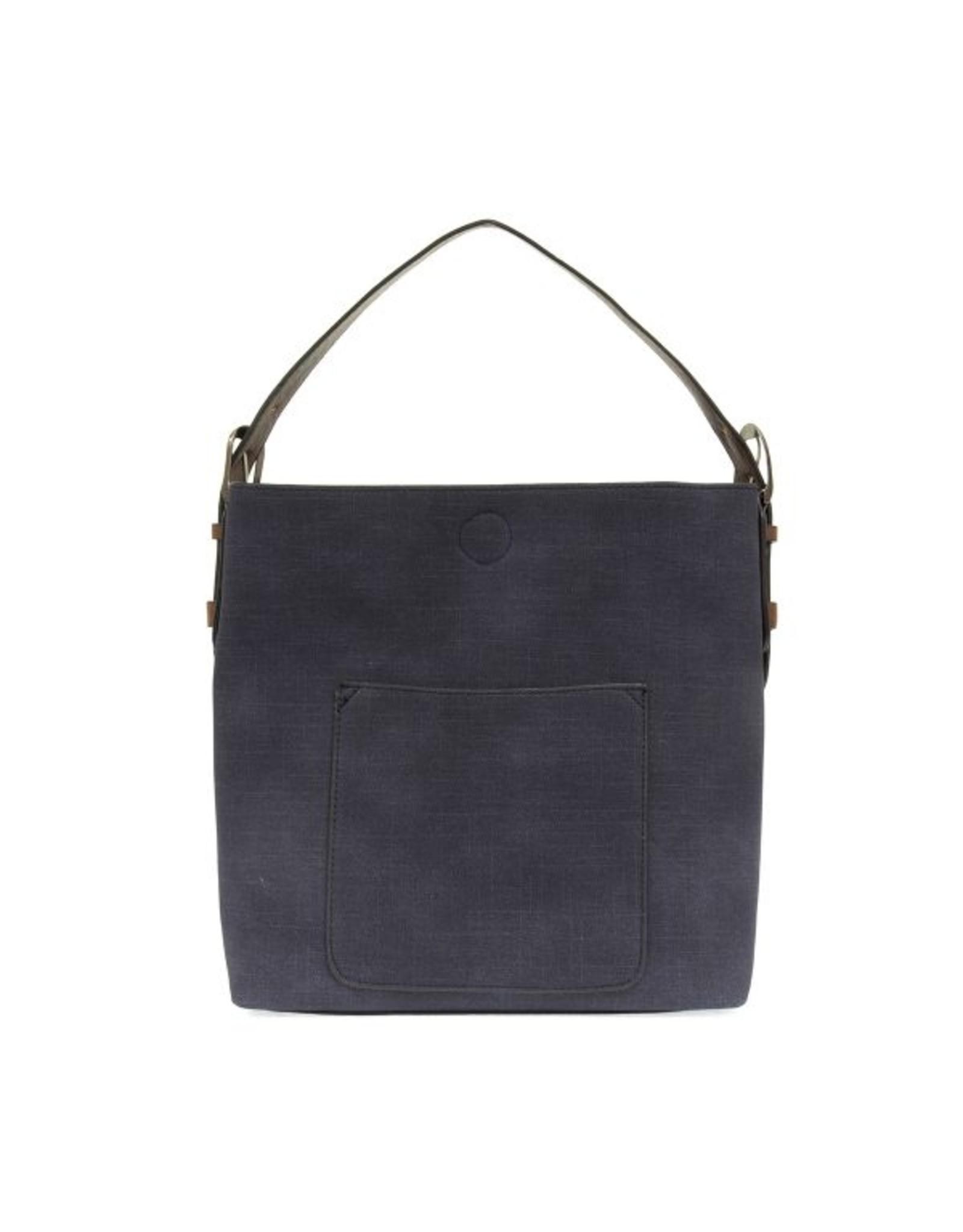 Linen Hobo Handbag With Coffee Handle - Assorted