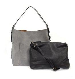 Joy Susan Linen Hobo Handbag With Black Handle - Assorted