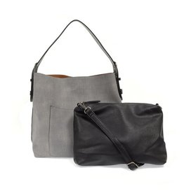 Linen Hobo Handbag With Black Handle - Assorted