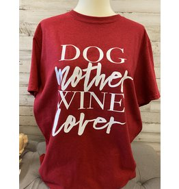 Dog Mother Wine Lover T Shirt - Red