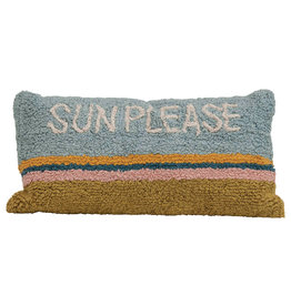 """Sun Please"" Rectangle Cotton Striped Pillow"