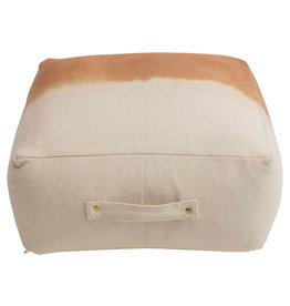 """24"""" Dip Dyed Cotton Canvas Pouf with Handle, Natural & Sienna"""