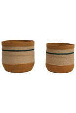 """10.75"""" & 12.25"""" Handwoven Natural Seagrass Striped Baskets (Set of 2 Sizes)"""