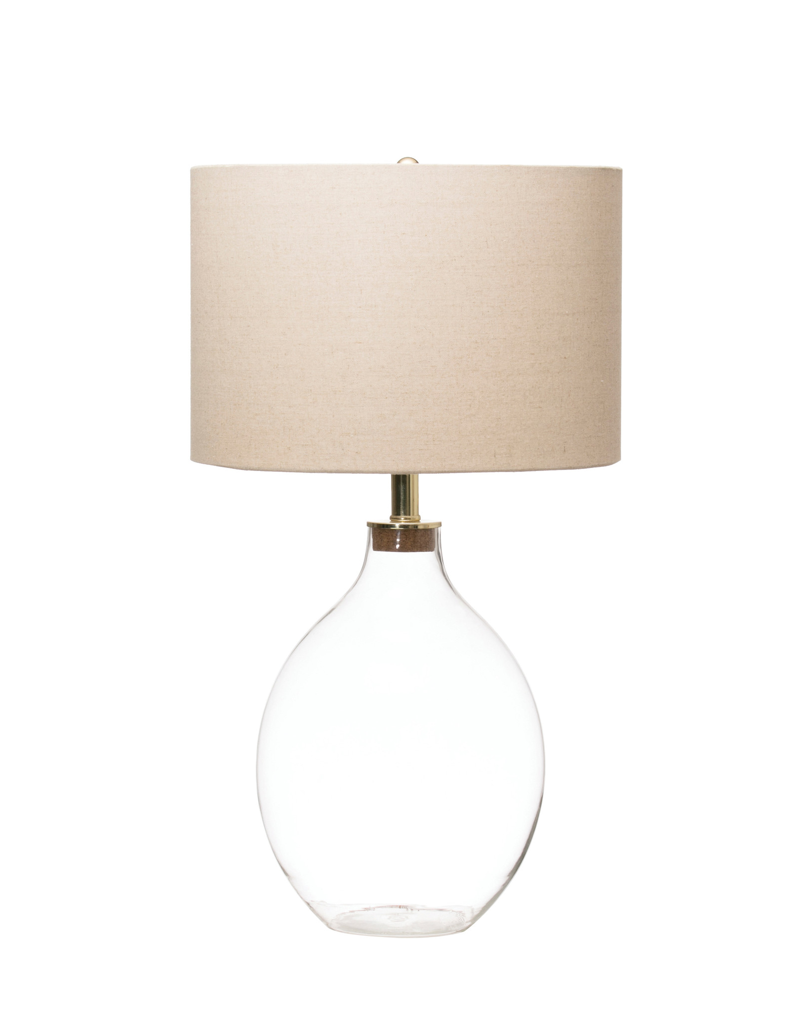 Fillable Clear Glass Table Lamp with Linen Shade