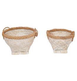 "17"" & 20.5"" Woven Bamboo & Water Hyacinth Baskets with Whitewashed Finish & Handles (Set of 2 Sizes)"