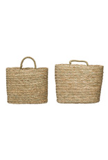 Handwoven Beige Seagrass Wall Baskets (Set of 2 Sizes)