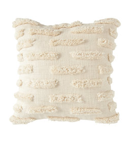White Cotton Embroidered Pillow with Lines of Decorative Fringe