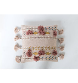Pillow - Embroidered & Appliqued Pink Cotton w Pom Poms & Tassels