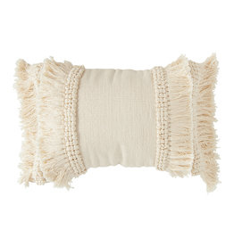 Cream Cotton & Chenille Woven Lumbar Pillow with Long Fringe