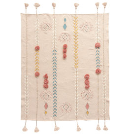 Embroidered Pink Cotton Throw with Decorative Applique, Pom Poms & Tassels