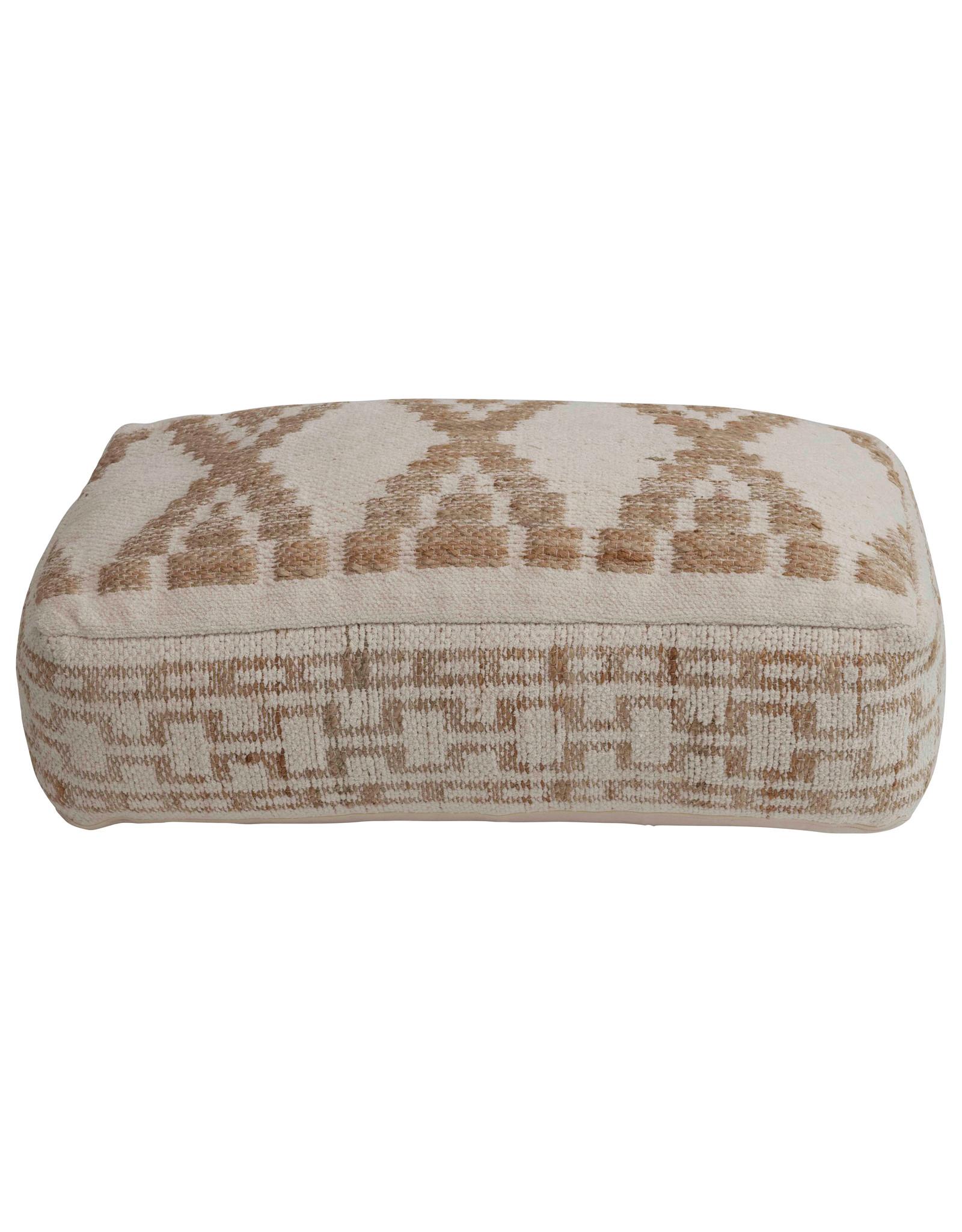 """10""""H Handwoven Cotton & Wool Blend Kilim Pouf"""