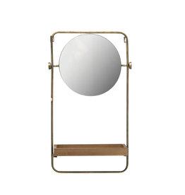 "27.25""H Metal Wall Mirror with Wood Shelf & Towel Bar"