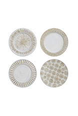 Cream & White Ceramic Wall Plates with Hangers (Set of 4 Designs)