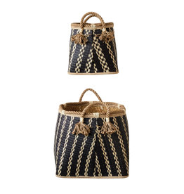 Set of 2 Beige & Black Wicker Baskets with Handles & Tassels