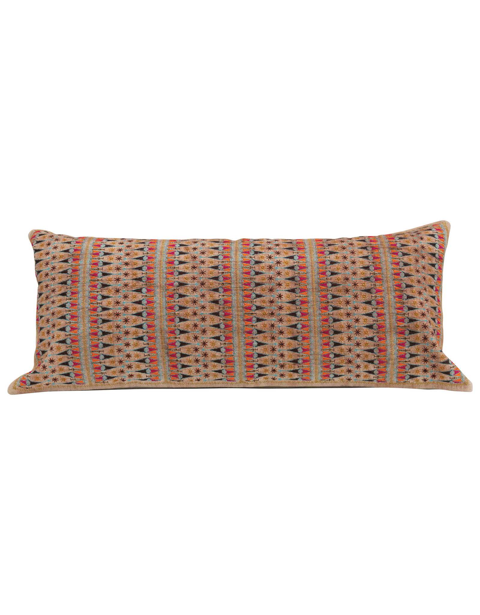 Rectangle Embroidered Cotton Chambray Lumbar Pillow