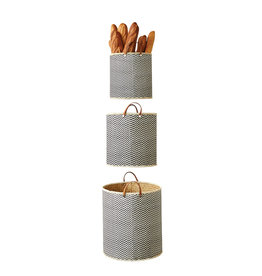 Black & Cream Decorative Palm Leaf Baskets (Set of 3 Sizes/Patterns)