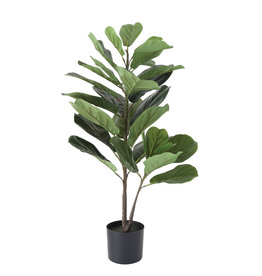 Potted Faux Fiddle Fig Leaf Plant
