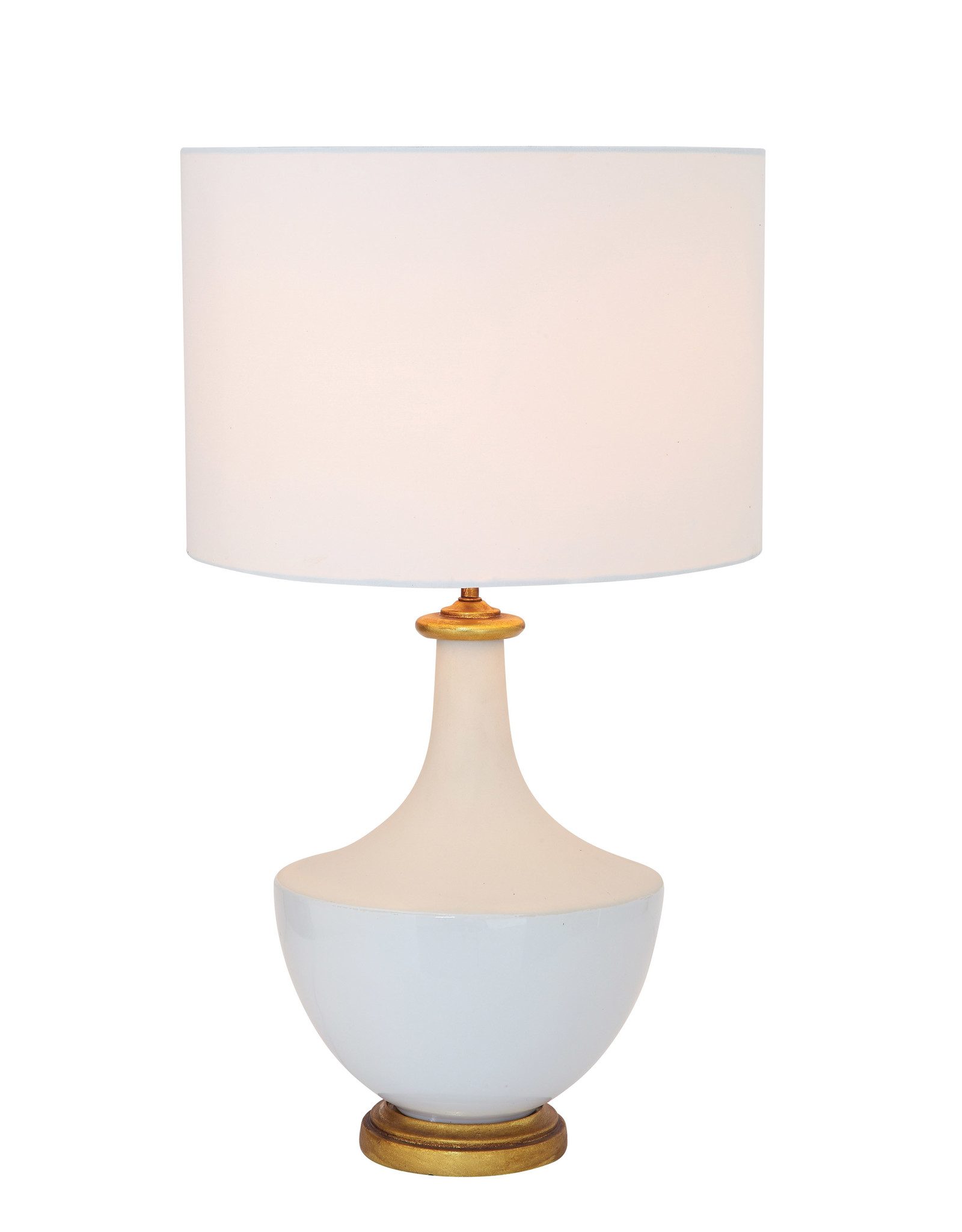 Ceramic Table Lamp with Linen Shade, Cream