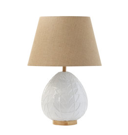 Embossed White Ceramic Table Lamp with Wood Base & Neck and Linen Shade