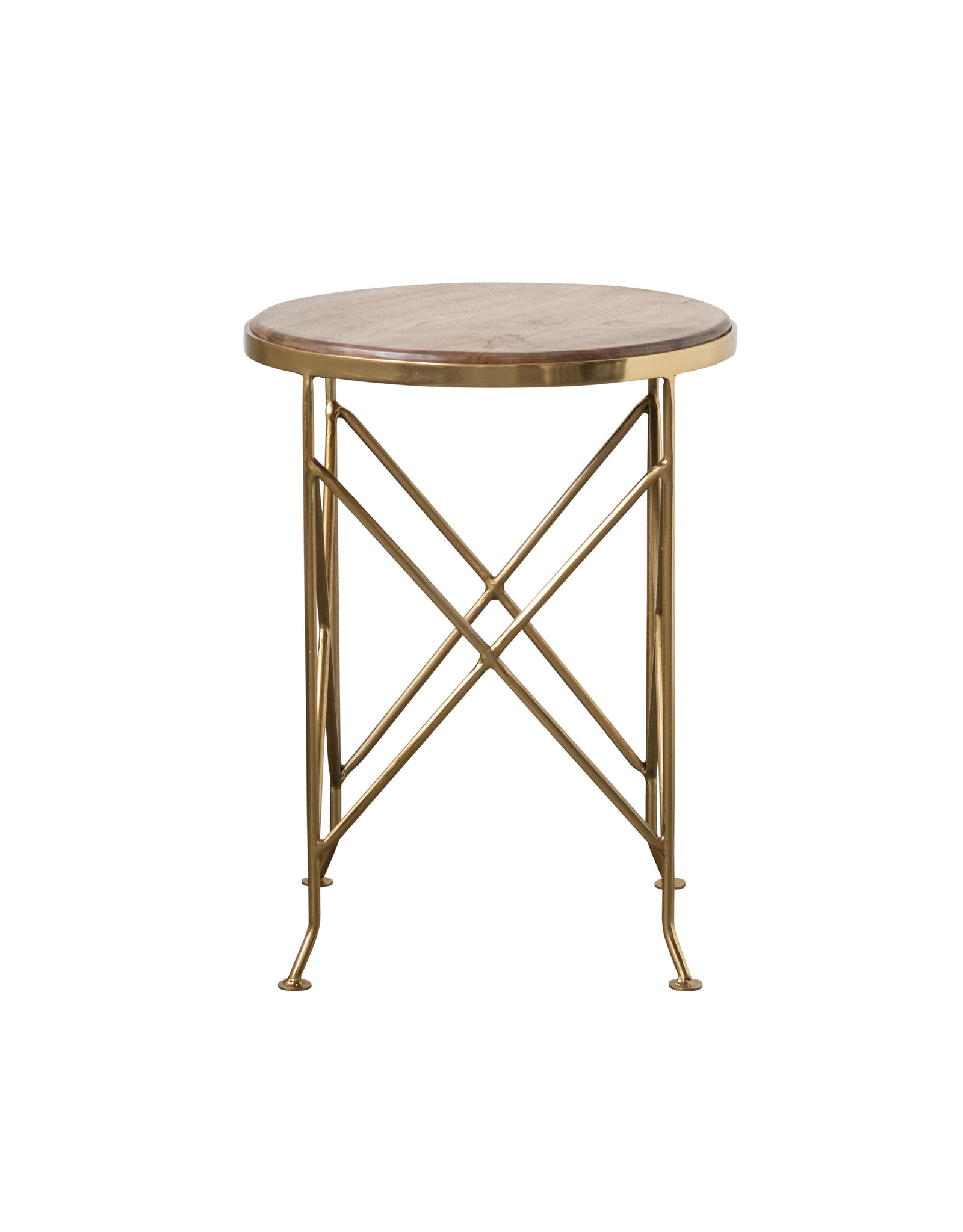 Picture of: Brown Mango Wood Side Table With Gold Metal Legs Vintage 615
