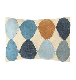 Off-White Wool Blend Lumbar Pillow with Blue & Brown Pattern