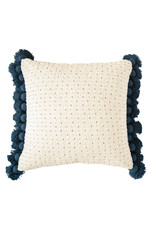 Pillow - Cotton Woven w Tassels, Embroidered Navy & Gold