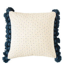 Embroidered Navy & Gold Cotton Woven Pillow with Tassels