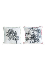 Reversible Square Cream Cotton Pillows with Printed Brown Floral Designs & Coral/Sage Velvet Backs (Set of 2 Styles)