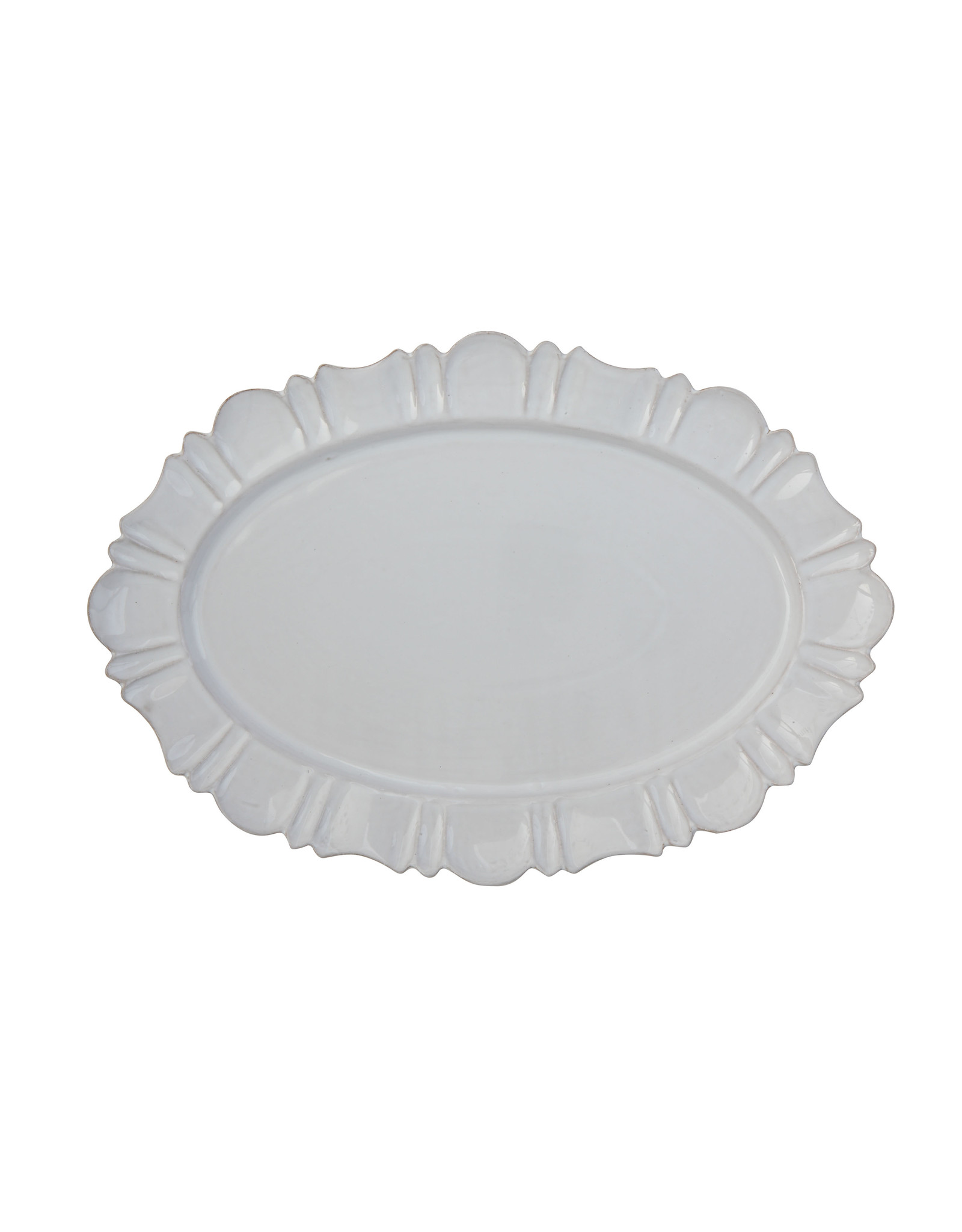 Oval White Terracotta Platter with Decorative Edge