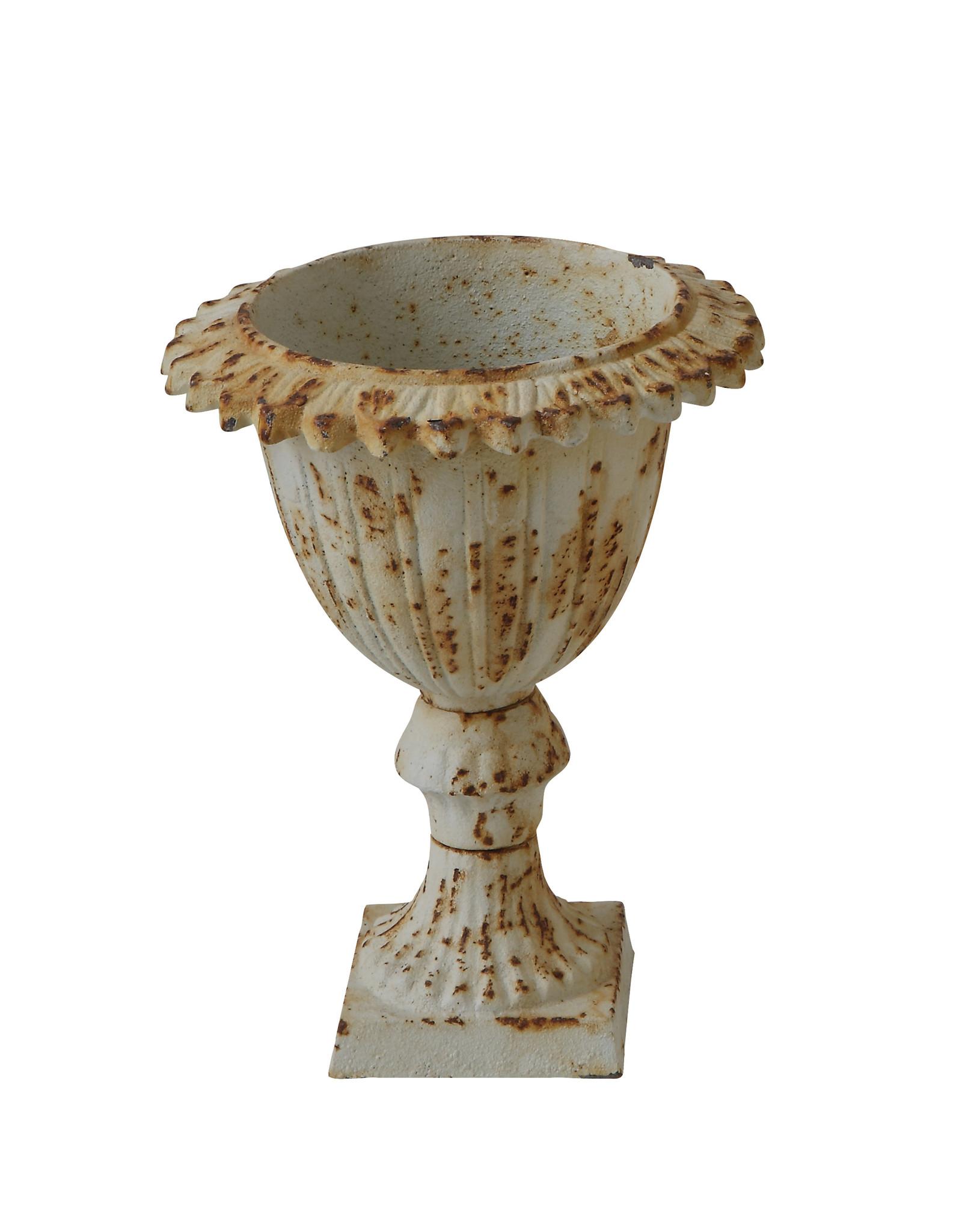 Small Distressed Antique Cream Cast Iron Urn