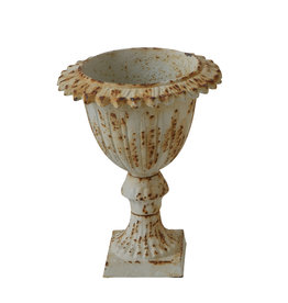 Small Distressed Antique Cream Cast Iron Urn