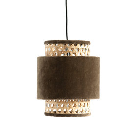 Taupe Cotton Velvet & Cane Pendant Light