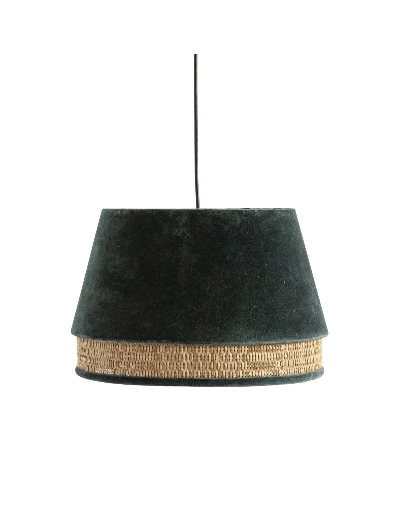 Charcoal Cotton Velvet & Cane Pendant Light