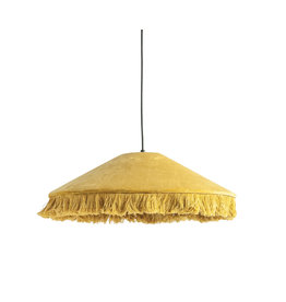 Mustard Yellow Cotton Velvet Pendant Light with Decorative Fringe