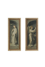 """59""""H Vintage Reproduction Angel & Mary Wall Décor with Distressed Finish & Wood Frame (Set of 2 Styles)"""