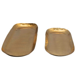 Oval Hammered Stainless Steel Trays (Set of 2 Sizes)
