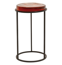 "12.5""R Transparent Glass Disc Accent Table with Metal Frame"