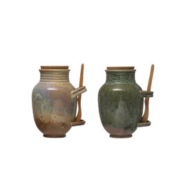 Vintage Reproduction Stoneware Olive Jar with Reactive Glaze Finish, Cork Lid & Wood Tongs (Set of 2 Colors/Each one will vary)