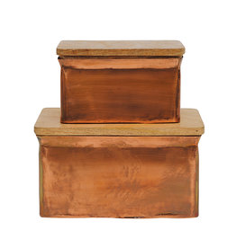 Iron Boxes with Wood Lids (Set of 2 Sizes)