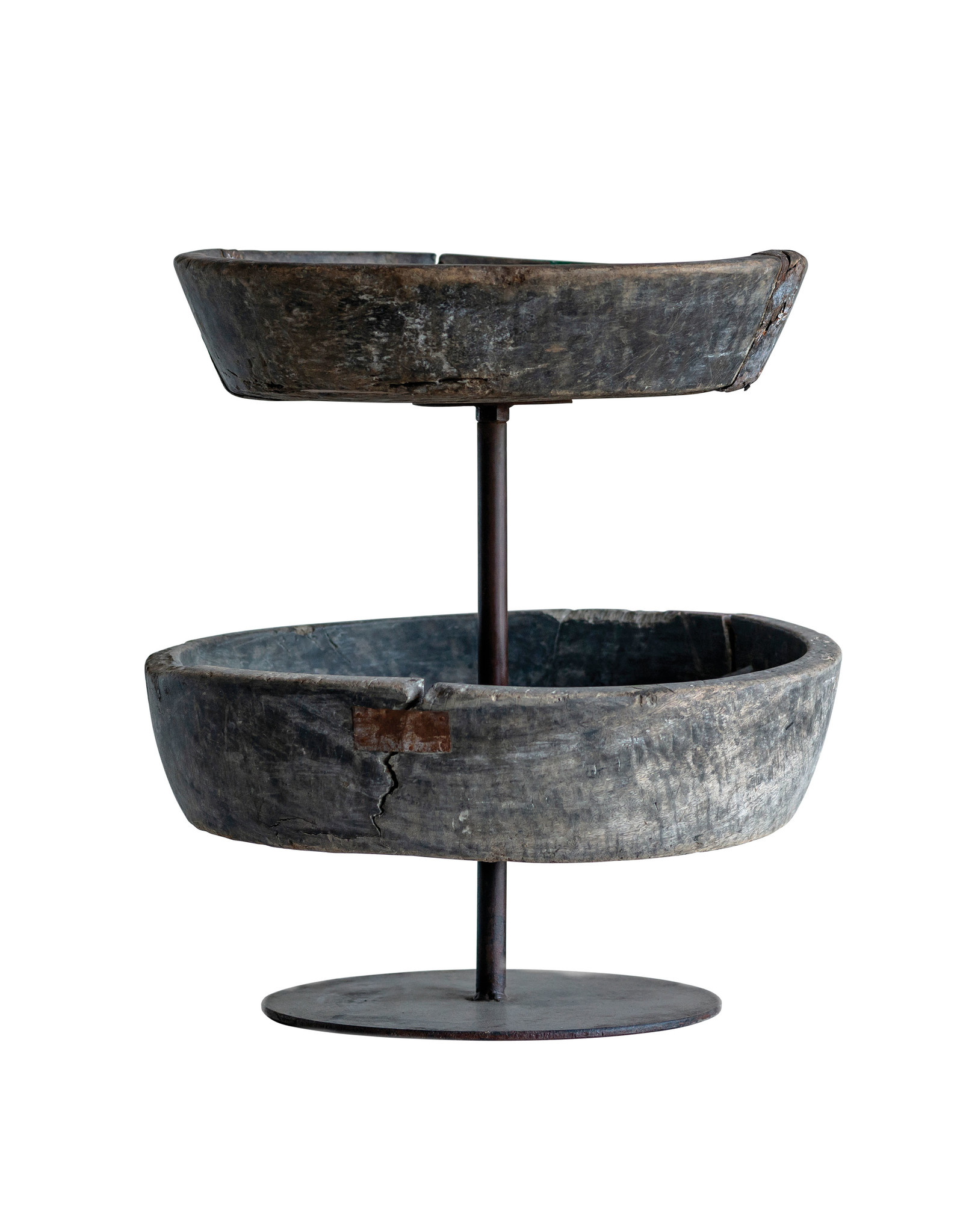 Found Decorative Reclaimed Wood & Metal 2-Tier Bowl