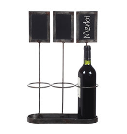 Wine Bottle Holder with Chalkboard Labels