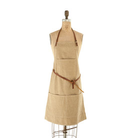 Khaki Cotton Canvas Apron with Pockets &  Leather Ties