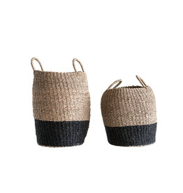 Brown & Black Woven Seagrass Baskets with Handles (Set of 2 Sizes)